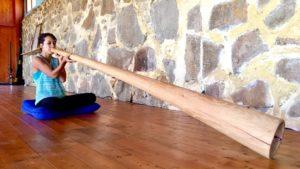 A didgeridoo player playing