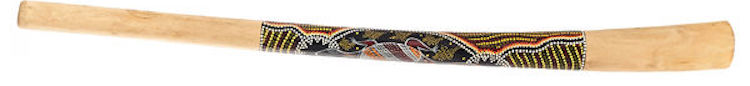 Teck didgeridoo with painting dug by a drill