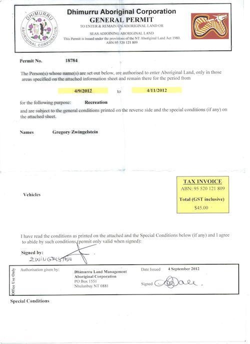 Document administratif de permis pour les Terres d'arnhem
