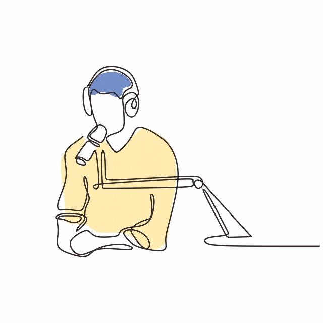 Un homme dessiné entrain de parler dans un micro